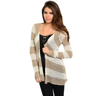 Feellib Women's Camel and Ivory Striped Open Cardigan