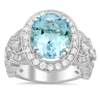 18k White Gold 1 1/3ct TDW Round-cut White Diamond Oval-cut Aquamarine Ring (F-G, SI1-SI2)