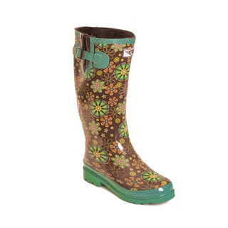 Women's Night Bloom Print Mid-calf Rain Boots