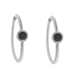 Sterling Silver 1/8ct TDW Black Diamond Hoop Earrings (H-I, I2-I3)