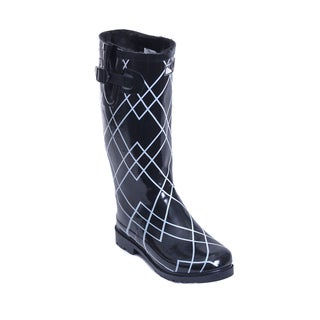 Women's Thunder and Lightning Print Mid-calf Rain Boots