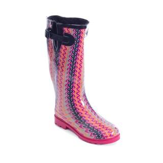 Women's Pink Swirl Design Mid-calf Rain Boots