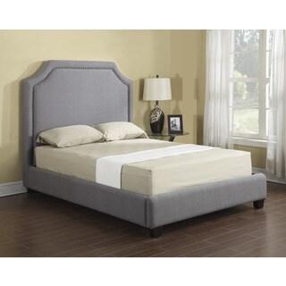 Emerald Grey Linen Upholstered Platform Bed