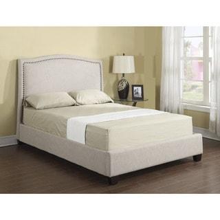 Emerald Tan Linen Platform Upholstered Bed Set