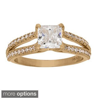 10k Yellow or White Gold 2 3/4ct TGW Cubic Zirconia Square Center Stone Ring