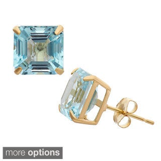 10k Gold 8mm Asscher Cut Gemstone Stud Earrings