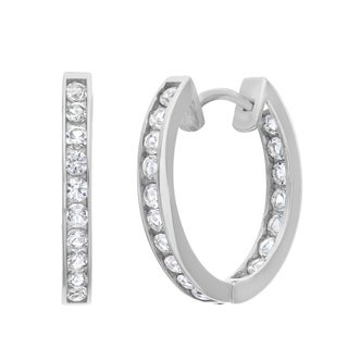 10k White Gold Created White Sapphire Accented Hoop Earrings