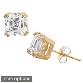 Gioelli 10k Gold Asscher Cut Created White Sapphire Stud Earrings