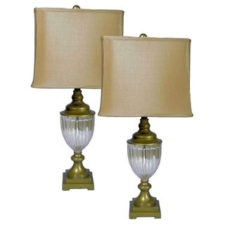 Amber Glass Table Lamp (Set of 2)