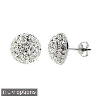 Gioelli Sterling Silver Round Half Moon Crystal Stud Earrings