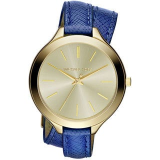 Michael Kors Women's MK2286 Slim Runway Blue Leather Double Wrap Watch