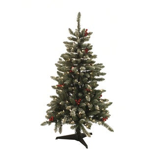 4.5-foot Pre-lit Berry Flocked Tree