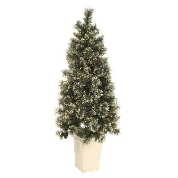 5-foot Pre-lit Snow-Tipped Potted Tree
