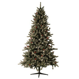 7.5-foot Pre-lit Berry Flocked Tree