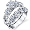 Oliveti Sterling Silver Prong-set Round-cut Cubic Zirconia Bridal Ring Set
