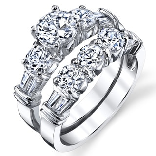 Oliveti Sterling Silver Double-band Cubic Zirconia Bridal Ring Set