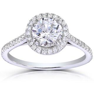 Annello 14k White Gold 1 1/3ct TDW Round-cut Diamond Halo Engagement Ring (H-I, I1-I2)