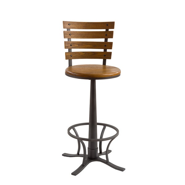 Westview Steel Grey And Wood Swivel Stool
