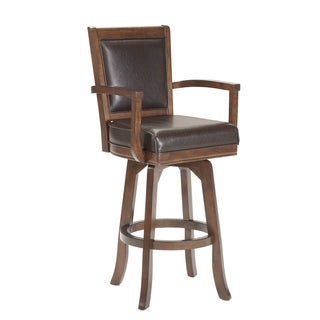 Ambassador Rich Cherry and Leather Swivel Stool