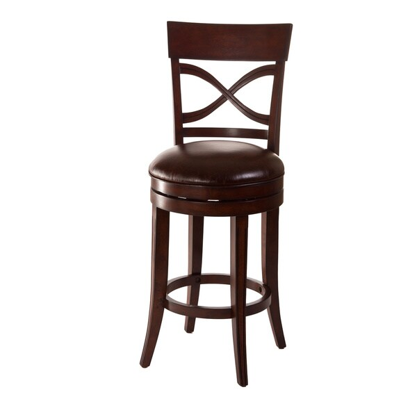 Drysdale Dark Brown and Espresso Leatherette Swivel Stool