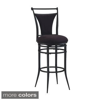 Cierra Pewter Metal and Faux Suede Swivel Stool