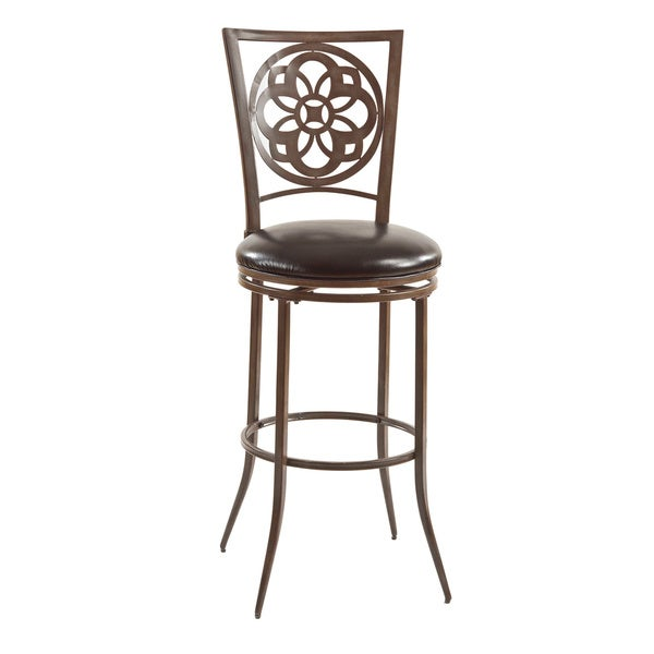 Marsala Grey and Rust Laser-cut Back Swivel Stool