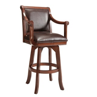 Palm Springs Medium Brown Cherry and Leatherette Stool