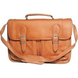 David King Leather 165 Top Handle Flap Over Portfolio Triple Gusset Tan