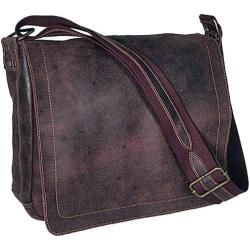 David King Leather 6152 Medium Distressed Laptop Messenger Bag Brown