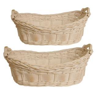 Whitewash Split Willow Basket (Set of 2)