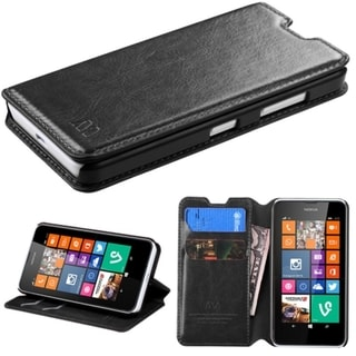INSTEN Stand Wallet Card Slots Leather Phone Case Cover for Nokia Lumia 630, Lumia 635