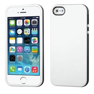 INSTEN Dual Color White/ Black TPU Rubber Phone Case Cover for APPLE iPhone 5/ 5S