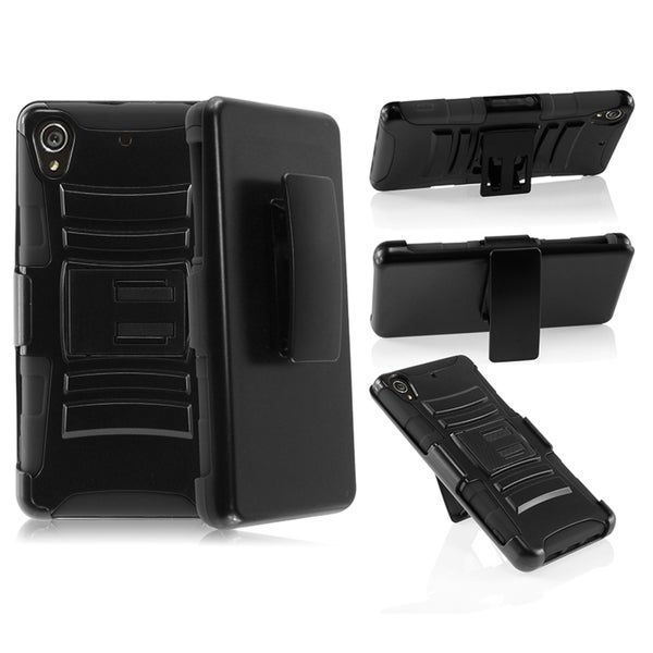 INSTEN Sturdy Holster Stand Soft Silicone PC Hybrid Phone Case Cover for Sony Xperia Z2