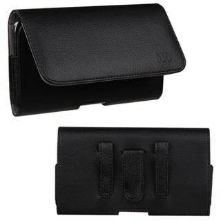 BasAcc Black/ Gray Universal Textured Horizontal Leather Pouch