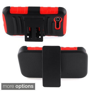 INSTEN Stand Holster PC Soft Silicone Hard Plastic Hybrid Phone Case Cover for LG Optimus Zone 2 II/ Fuel