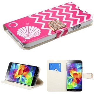 BasAcc Stand Wallet Magnetic Snap Leather Case for Samsung Galaxy S5