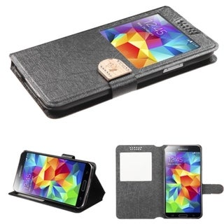 BasAcc Smart View Window Magnetic Snap Leather Case for Samsung Galaxy S5