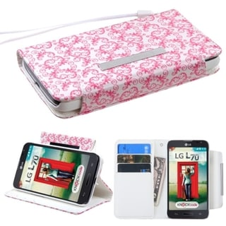 INSTEN Lanyard Wallet Stand Leather Phone Case Cover for LG Optimus L70/ Exceed II/ Dual