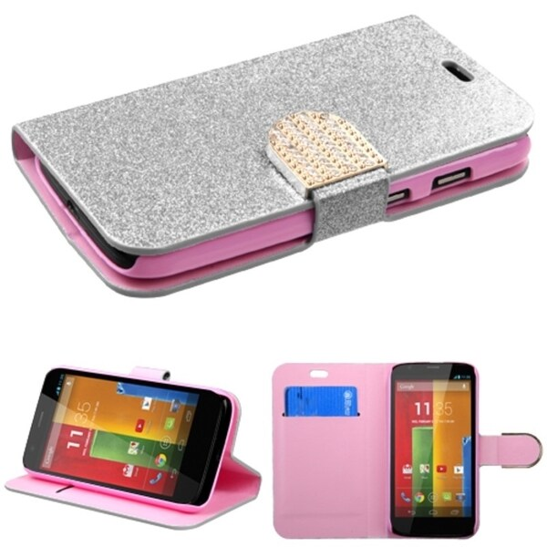 INSTEN Glittering Magnetic Stand Wallet Leather Phone Case Cover for Motorola Moto G