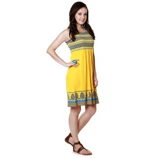 Global Desi Women's Boho Decorative Printed Hem Dress (India)