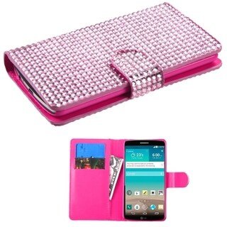 BasAcc Diamond Magnetic Snap Wallet Leather Case for LG G3