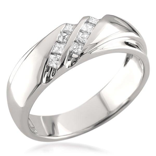 14k White Gold Men s 1 4ct TDW Princess cut White Diamond Wedding Band H