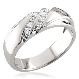 14k White Gold Men's 1/4ct TDW Princess-cut White Diamond Wedding Band (H-I, I1)