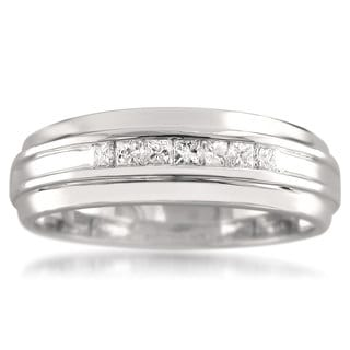 14k White Gold Men's 1/3ct TDW Princess-cut Diamond Wedding Band (H-I, I1)