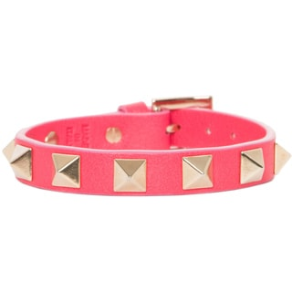 Valentino Hot Pink Leather Goldtone Rockstud Bracelet