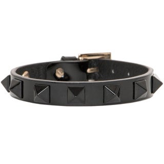 Valentino Black Patent Leather Lacquered Rockstud Bracelet