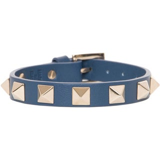 Valentino Goldtone Pyramid Rockstud Blue Leather Bracelet