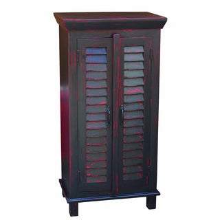 Black Storage Cabinet with Red Rub and Shutter Door