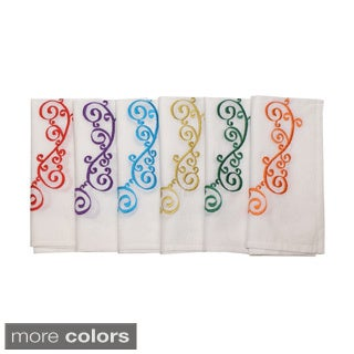 Set of 6 Scroll Embroidered Napkins (India)