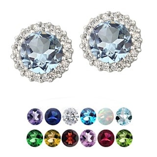 Glitzy Rocks Sterling Silver Gemstone Or Cubic Zirconia Birthstone Round Stud Earrings